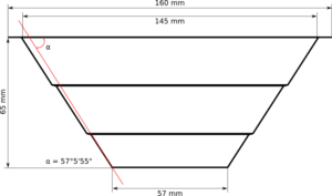 Side view of the Homa Pyramide shown in most exact measures.