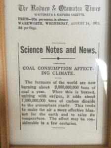 Warnung vor dem Klimawandel 1912