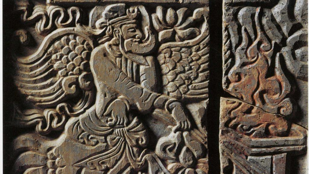 Eine Vogelpriester mit Feuerritual im Kontext des Zoroastrismus.